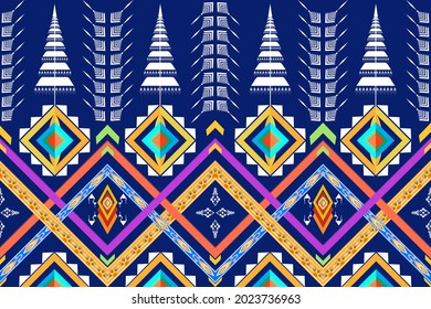 Geometric ethnic pattern seamless design for background or wallpaper. Ikat fabric pattern design concept. indian pattern. top tiara style, chada high hairdo, thai theatrical crown.