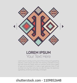 Geometric ethnic pattern traditional Design for background,carpet,wallpaper,clothing,wrapping,Batik,fabric,sarong,Vector illustration on gray color embroidery style.