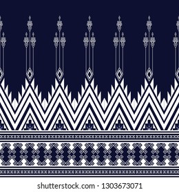 Geometric ethnic pattern traditional Design for background, carpet, wallpaper, clothing, wrapping, Batik, fabric, sarong, Vector illustration embroidery style.