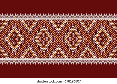 Geometric ethnic pattern traditional Design for background,carpet,wallpaper,clothing,wrapping,Batik,fabric,sarong,Vector illustration embroidery style.