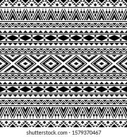 Geometric ethnic pattern vector black white color. Tribal Pattern. Aztec design boho rug, fabric, blanket and backdrop