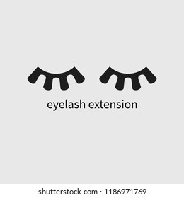 Geometric eyelash extension icon, eyelash extension salon vector logo