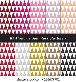 Geometric Faceted Triangle Patterns in Berry Pinks, Reds, White and Classic Neutral Colors. Pattern Swatches made with Global Colors - easy to change all patterns in one click.