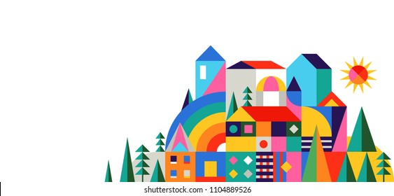 Geometric fairy tale kingdom, knight castle, children room, class wall decoration. Colorful vector illustration