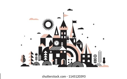 Geometric fairy tale kingdom, knight and princess magic castle, children room, class wall decoration. Colorful vector illustration