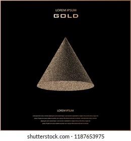 Geometric figure of points. Dot semitone geometric figure. Halftone vector illustration. 3D taper, cone. Modern, minimal design. Copper glossy background. Bronze metal background