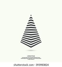 Geometric figure. Pyramid of the strips. Trendy modern logo.