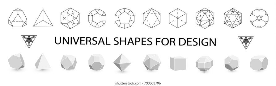Geometric figures. Archimedes' shapes. Collection of thin black icons, fashionable logos. Geometric icon, geometric pattern, geometric shape, label, monogram, hexagons, triangles, squares. Vector.