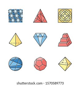 Geometric figures color icons set. Abstract shapes. Isometric forms. Geometric ornament. Polygonal triangle. Prism model. Double pyramid. Ornamental square. Lined circle. Isolated vector illustrations