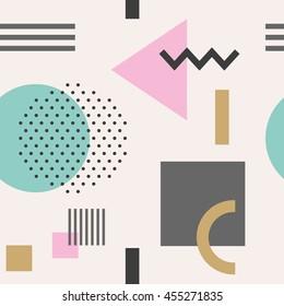 Geometric figures seamless pattern design. Vector illustration.