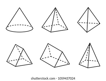 Geometric figures set isolated on white backdrop, vector illustration, square pyramid and tetrahedron, cone and triangular prisms, hexagonal pyramid
