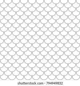 Geometric fish scales chinese seamless pattern. Wavy roof tile background for design. Modern repeating stylish texture. Flat pattern. Vector