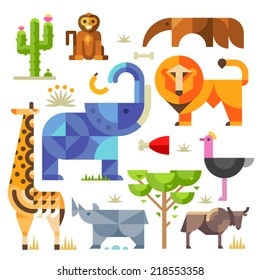 Geometric flat Africa animals and plants, including elephant, lion, monkey, giraffe, rhino, ostrich, anteater, hyena, cactus
