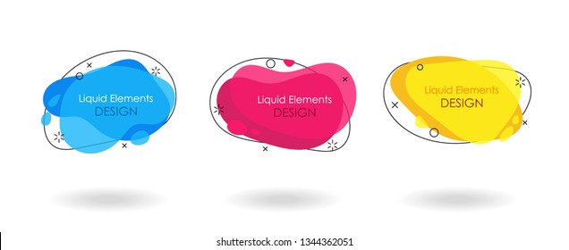Geometric flat banner set. Liquid splash shapes. For use in logo, sale, promotion. Vector sale trendy banner
