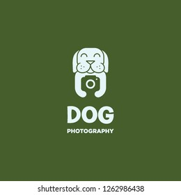 geometric flat dog mascot hold camera photography logo icon vector inspiration