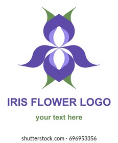 Geometric floral icon. Stylized iris flower logotype. Logo concept for a spa, wellness center, massage or beauty salon. Vector design element isolated on white background.