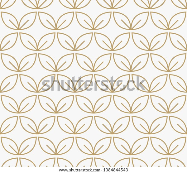 geometric floral leaf ornament line seamless pattern, modern minimalist style pattern background