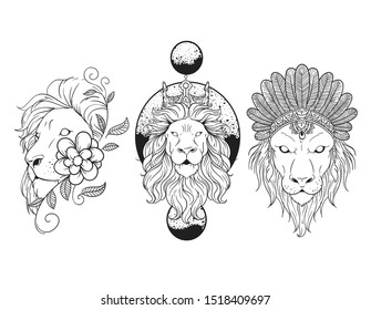 Geometric Floral Lion Tattoo Vector Stock Vector Royalty Free 1518409697 Outline lion and leo tattoo design. geometric floral lion tattoo vector