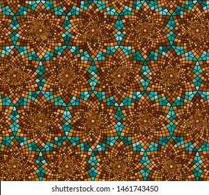 Geometric floral repeatable pattern with logarithmic spirals ornament imitating stained glass mosaic