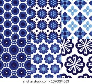 Geometric floral vector pattern set. Inspired by  Arabesque, Mediterranean, Peranakan ceramic tiles.