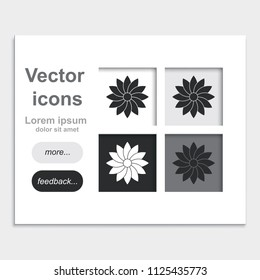 Geometric flower flat placed on web page template vector icon.