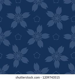 Geometric Flower Motif Japanese Style Seamless Vector Pattern. Hand Drawn Indigo Blue Floral Texture for Elegant Textile Prints, Classic Japan Decor, Asian Backdrop or Oriental Kimono Fashion Fabric.