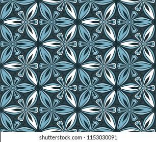geometric flower seamless pattern vector illustration. mandala ornament. blue graphic floral line oriental arabesque pattern. flower of life background for fabric, wallpaper design