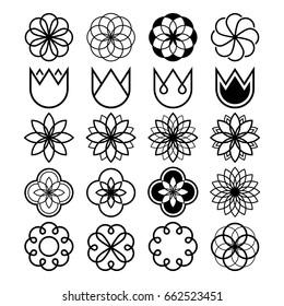 Geometric flowers, abstract flower set, tulip shape, line icons