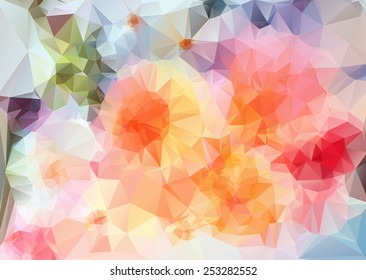 Geometric flowers. Abstract polygonal background. Geometrical texture.