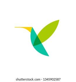 geometric flying bird logo design vector template illustration. green hummingbird/colibri icon vector