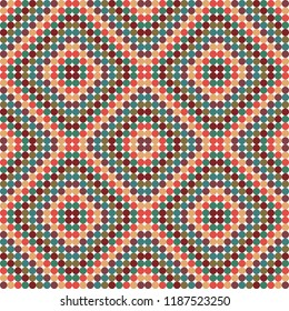 Geometric folk inspired vector pattern, seamless repeat. Trendy abstract style in muted color palette. Great for christmas related designs, fabrics & other surfaces, paper products, scrapbooking etc.