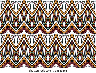 Geometric folklore ornament. Tribal ethnic vector texture. Seamless striped  pattern in Aztec style. Figure tribal  embroidery. Indian, Scandinavian, Slavic, Mexican, folk pattern.