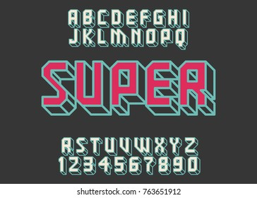 Geometric font 3d effect design letters and numbers Space futuristic style Vector abc