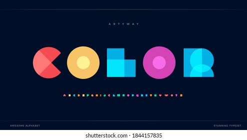 Geometric font color art alphabet, abstract decorative letters set. Overlay colorful type for modern logo, headline, bright lettering and poster typographic. Minimal style vector typography design