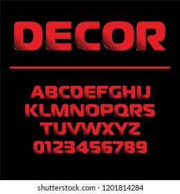 Geometric font Decor. Sport design Futuristic letters and numbers alphabet. Vector