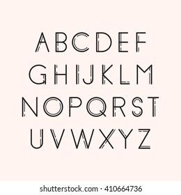 Geometric font. Line design. Vector illustration EPS 10