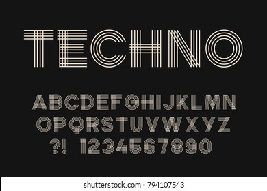Geometric font Linear design Techno letters and numbers Vector abc