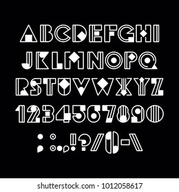 Geometric font. For registration of magazines, graphics, posters