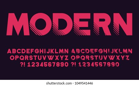 Geometric font with shadow Modern sport design Futuristic letters and numbers Vector abc