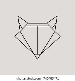 Geometric fox head isolated on grey background vintage vector design element illustration. Fox Origami, Vector logo template