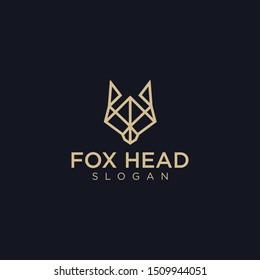 Geometric fox head on black background. vector logo design Fox Origami  template download