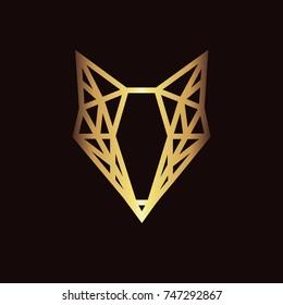 Geometric fox logo in gold. Vector illustration background in flat design style. Vector logo template, design element, geometric sign
