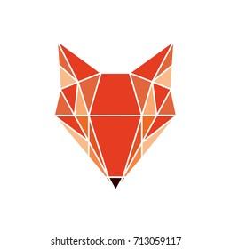 Geometric fox logo. Vector illustration background in flat design style. Vector logo template, design element, geometric sign