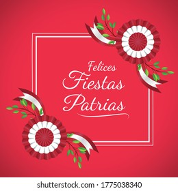 """Geometric frame, message that says """" Felices fiestas patrias"""" Decoration plant and cockade celebration independence day Peru, background red vector illustration."""