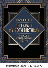 Geometric Gatsby Art Deco Birthday Invitation Design