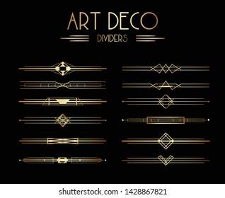 Geometric Gatsby Art Deco Dividers or Decoration Elements