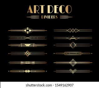 Geometric Gatsby Art Deco Dividers or Decoration Elements