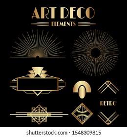 Geometric Gatsby Art Deco Ornaments and Decorative Elements