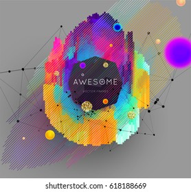 Geometric glitch abstract vector background. Modern chaos illustration with data structure concept elements. Abstract colorful poster with golden glitters.