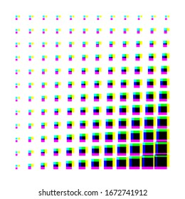 Geometric glitch halftone gradients. Minimal cover design backgrounds. Abstract shapes. Vector illustration